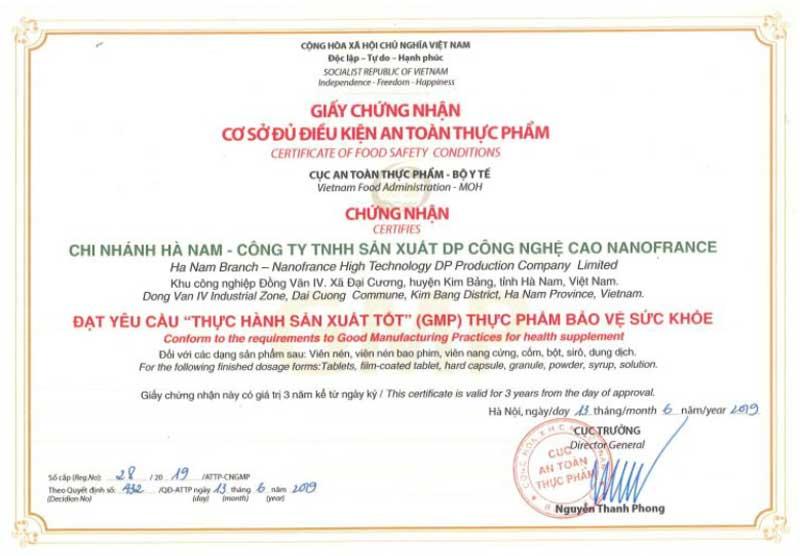 Công Ty TNHH Sản Xuất DP Công Nghệ Cao NanoFrance đạt chuẩn GMP