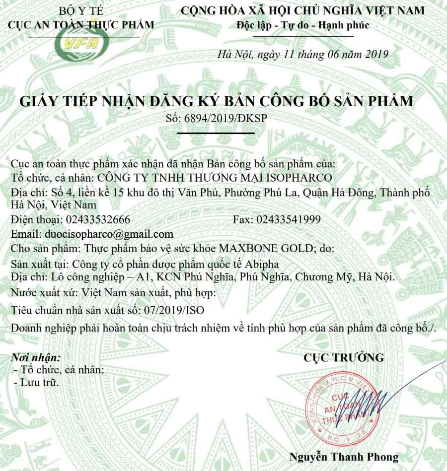 Giấy đăng ký sản phẩm Maxbone Gold do Cục ATTP - Bộ Y tế cấp