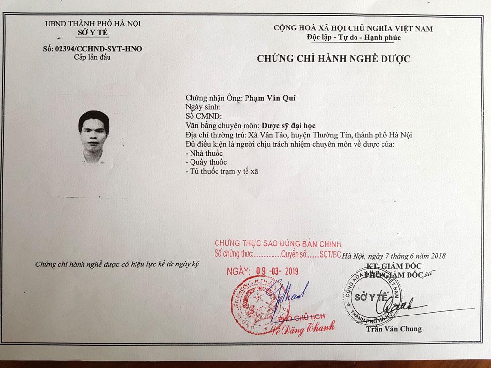Chứng chỉ hành nghề dược của Dược si Phạm Văn Quí