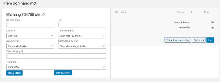 Để lên đơn mới, điền đầy đủ thông tin khách hàng và chọn sản phẩm tại đây