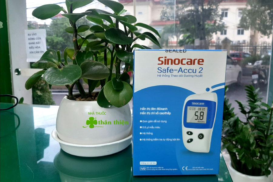 Máy đo đường huyết Sinocare safe accu 2, đo đường huyết và axit uric