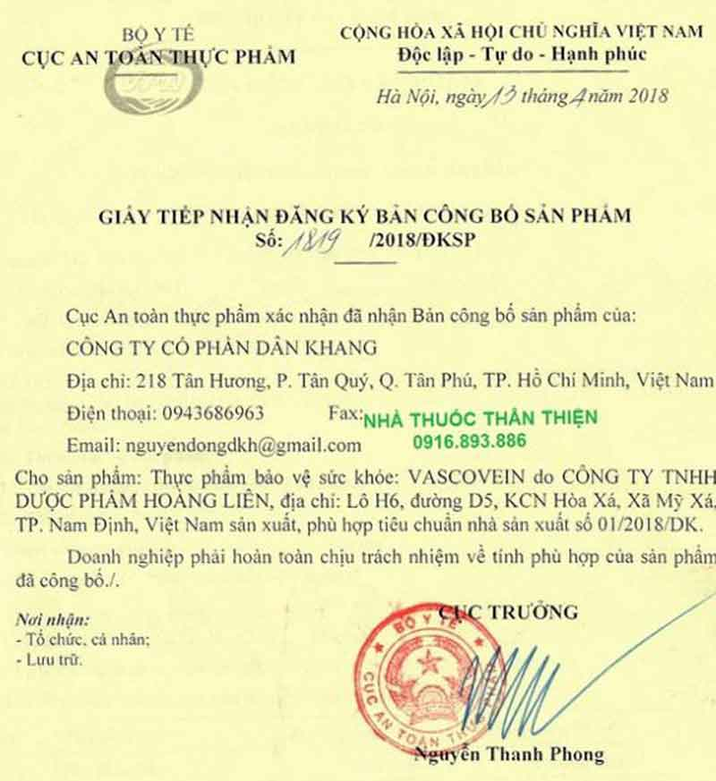Giấy xác nhận công bố Vascovein do Cục ATTP - Bộ Y tế cấp