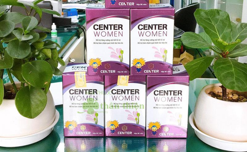 Viên uống Center women, dùng cho nữ giới thiếu hụt nội tiết tố Estrogen, khô hạn, bốc hỏa