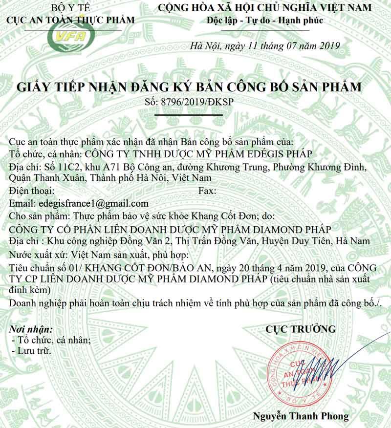 Giấy xác nhận công bố Khang Cốt Đơn do Cục ATTP - Bộ Y tế cấp