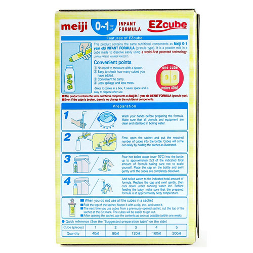 Cách dùng sữa Meiji Infant Formula EZcube