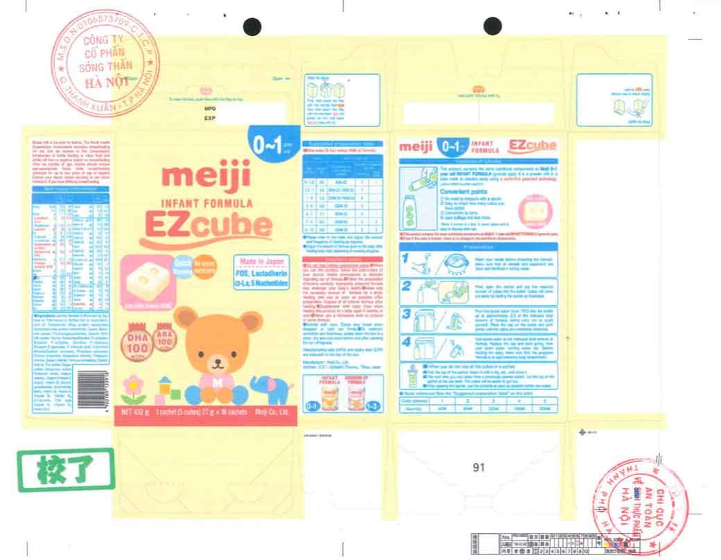 Tem nhãn Sữa Meiji infant formula EZcube theo giấy phép công bố Cục ATTP - Bộ Y tế