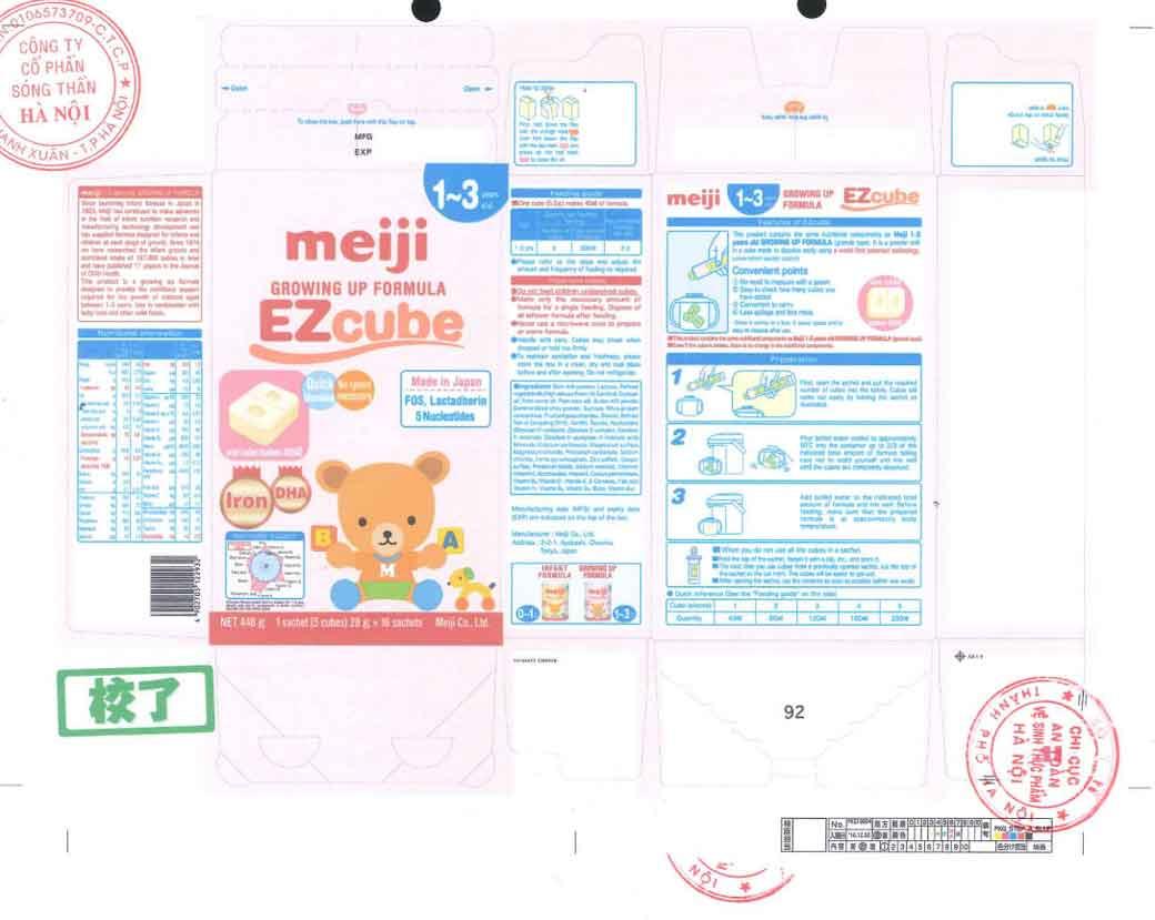 Tem nhãn Sữa Meiji số 9 Growing up formula EZcube
