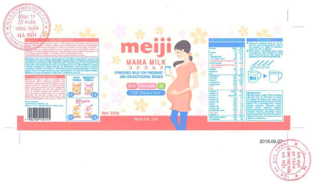 Tem nhãn Sữa bầu Meiji Mama Milk theo đăng ký Cục ATTP - Bộ Y tế