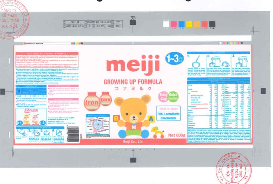 Tem nhãn Sữa Meiji Growing up Formula theo giấy XNCB Cục ATTP - Bộ Y tế