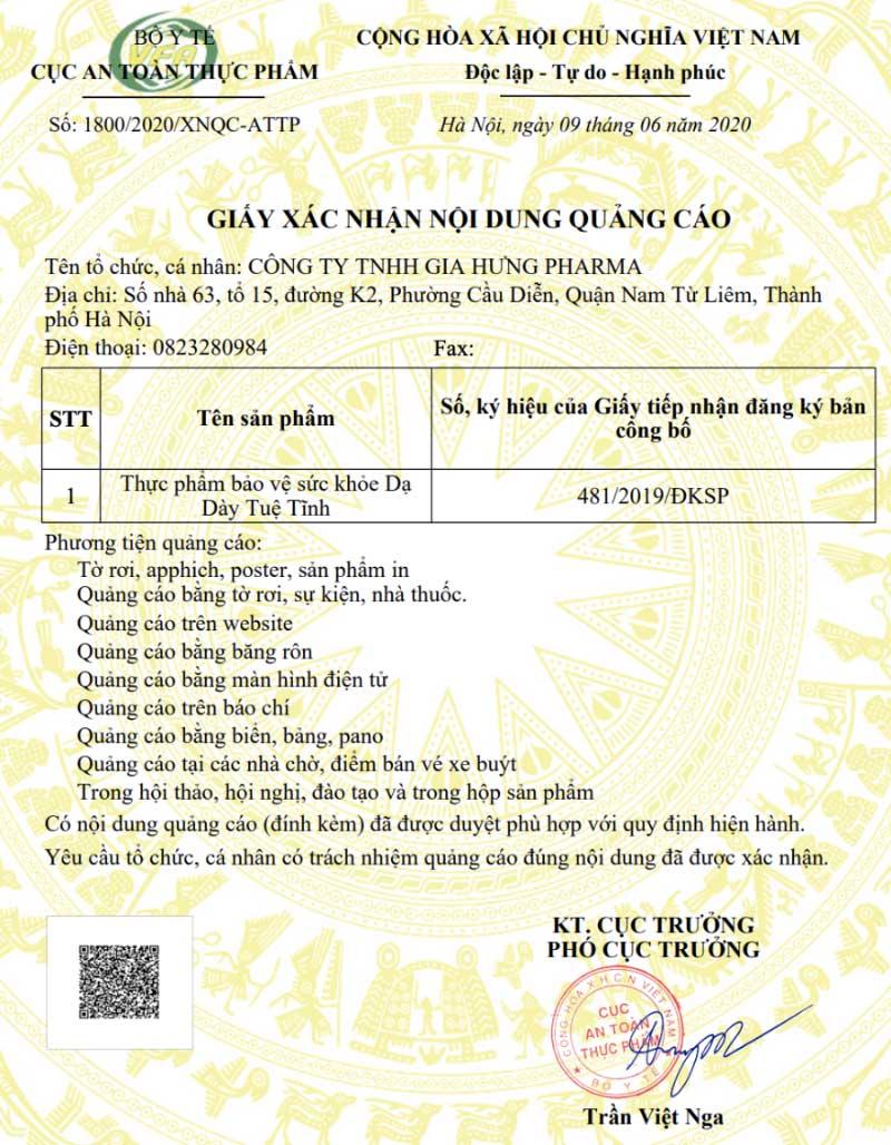 Giấy xác nhận quảng cáo TPCN Dạ Dày Tuệ Tĩnh