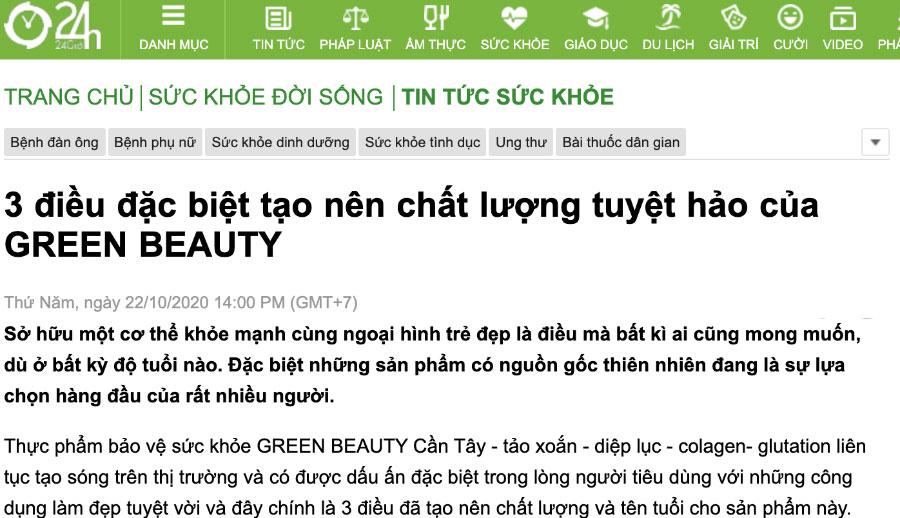 Trang tin 24h - 3 điều đặc biệt tạo nên chất lượng tuyệt hảo của Green Beauty