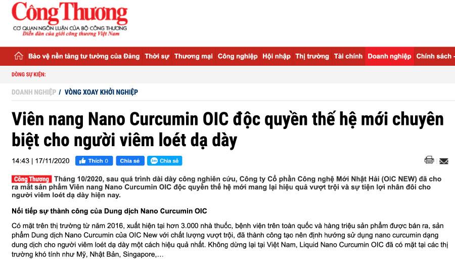 Báo Công Thương - Viên nang Nano Curcumin OIC độc quyền thế hệ mới chuyên biệt cho người viêm loét dạ dày