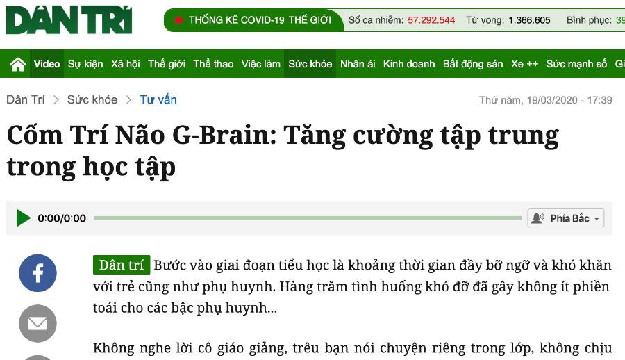 Báo Dân Trí - Cốm Trí Não G-Brain: Tăng cường tập trung trong học tập