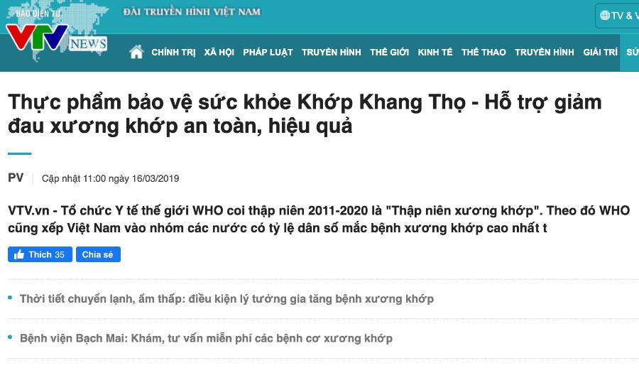 Báo VTVnews - Tpbvsk Khớp Khang Thọ - Hỗ trợ giảm đau xương khớp an toàn, hiệu quả