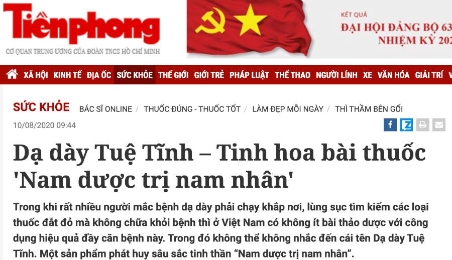 Báo Tiền Phong - Dạ dày Tuệ Tĩnh – Tinh hoa bài thuốc 'Nam dược trị nam nhân'