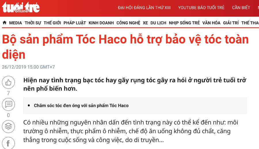Báo Tuổi Trẻ - Bộ sản phẩm Tóc Haco hỗ trợ bảo vệ tóc toàn diện
