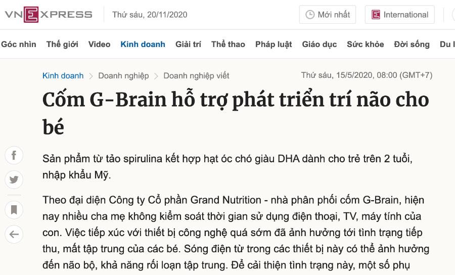 Báo Vnexpress - Cốm sữa tảo non G-Brain hỗ trợ phát triển trí não cho bé