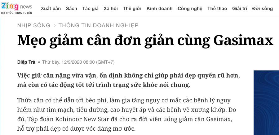 Trang Zingnews - Mẹo giảm cân đơn giản cùng Gasimax!