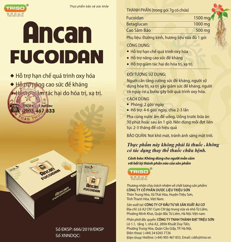 Giấy xác nhận quảng cáo Ancan Fucoidan