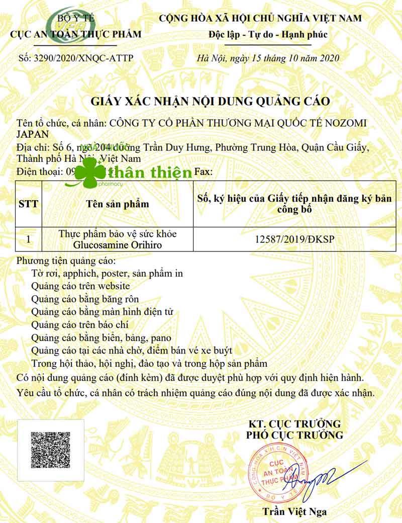 Giấy xác nhận quảng cáo viên uống Glucosamine Orihiro do Cục ATTP - Bộ Y tế cấp