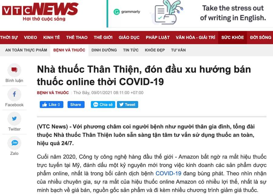 Ảnh chụp màn hình báo VTCNews nói về Nhà Thuốc Thân Thiện