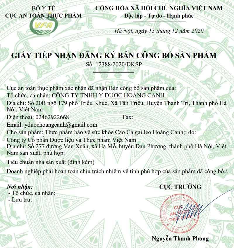 Giấy xác nhận công bố sản phẩm Cao cà gai leo Hoàng Canh