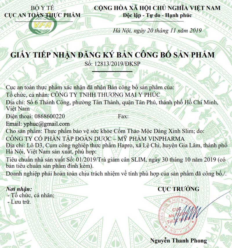 Giấy xác nhận công bố Cốm Thảo Mộc Dáng Xinh Slim