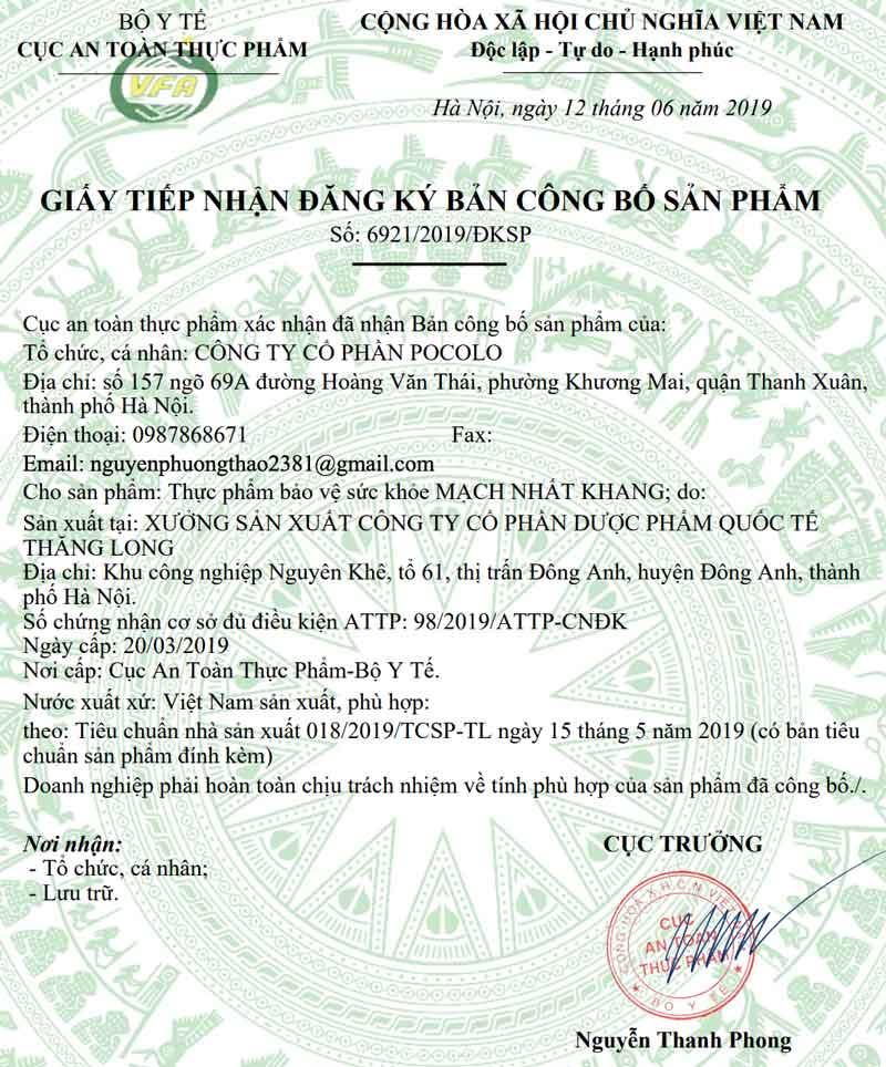 Giấy xác nhận công bố Mạch Nhất Khang do Cục ATTP - Bộ Y tế cấp
