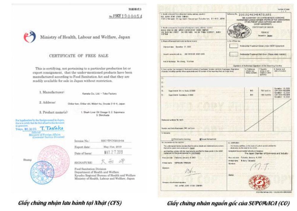 Giấy chứng nhận lưu hành tại Nhật (CFS) và giấy chứng nhận nguồn gốc (CO) của SUPOMACA