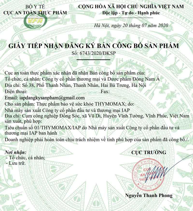 Giấy xác nhận công bố sản phẩm Thymomax do Cục ATTP - Bộ Y tế cấp