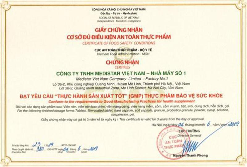 Giấy chứng nhận nhà máy sản xuất Medistar Việt Nam đạt chuẩn GMP do Cục ATTP - Bộ Y tế cấp