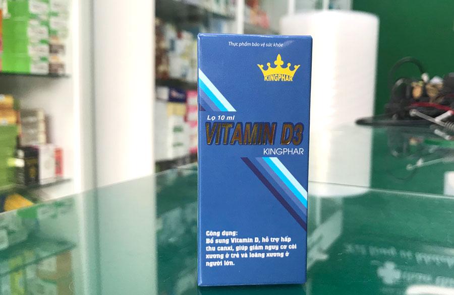 Vitamin D3 Kingphar, hỗ trợ hấp thu canxi, giúp giảm nguy cơ còi xương