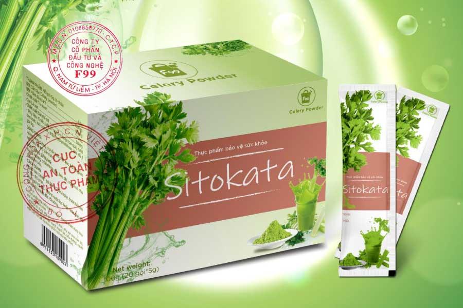 Hình ảnh Bột cần tây Sitokata trong bảng giấy phép quảng cáo có đóng dấu đỏ của Cục ATTP - Bộ Y tế