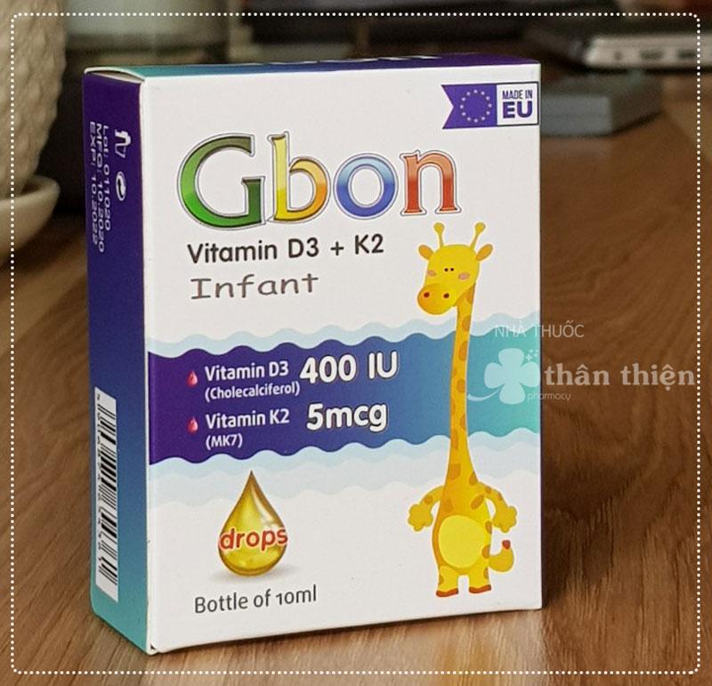 Gbon Vitamin D3 K2, hỗ trợ tăng cường hấp thu canxi, giúp xương chắc khoẻ