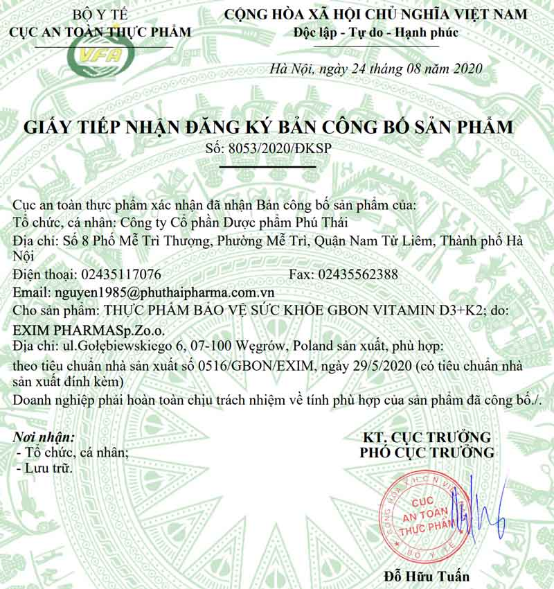 Giấy xác nhận công bố sản phẩm Gbon do Cục ATTP - Bộ Y tế cấp