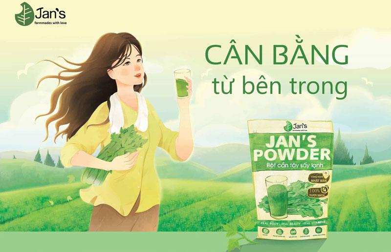 Bột cần tây sấy lạnh Jan's Powder, Bí quyết dạ sáng dáng thon