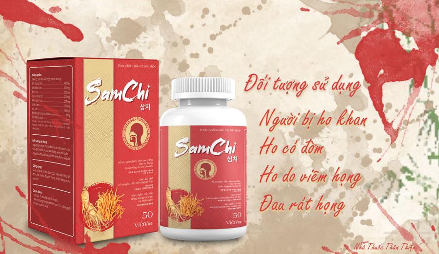 Viên uống Samchi, hỗ trợ giảm các bểu hiện tăng tiết đờm, ho nhiều