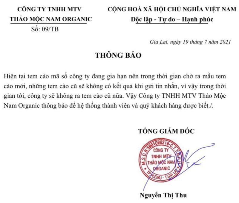 Thông báo về việc tem cào Sâm Bổ Kiện Thảo Mộc Nam không hoạt động