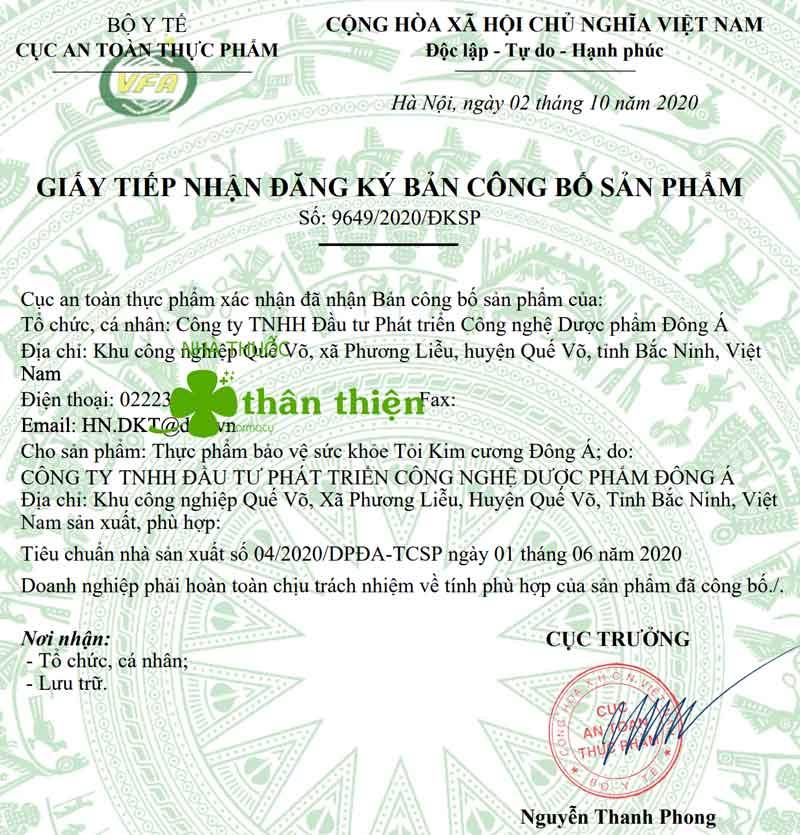 Giấy xác nhận công bố sản phẩm Tỏi đen Kim Cương Đông Á do Cục ATTP - Bộ Y tế cấp