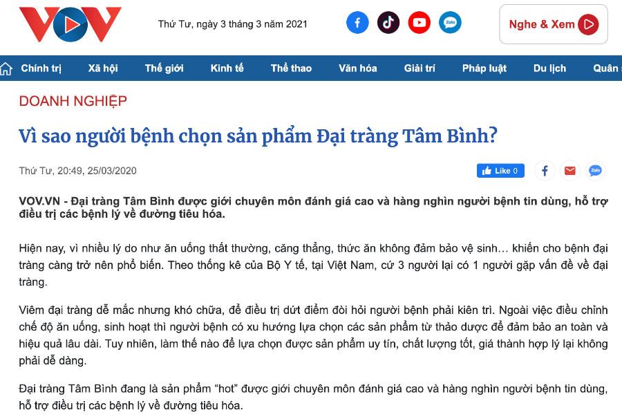 Bài đăng Đại Tràng Tâm Bình trên báo VOV