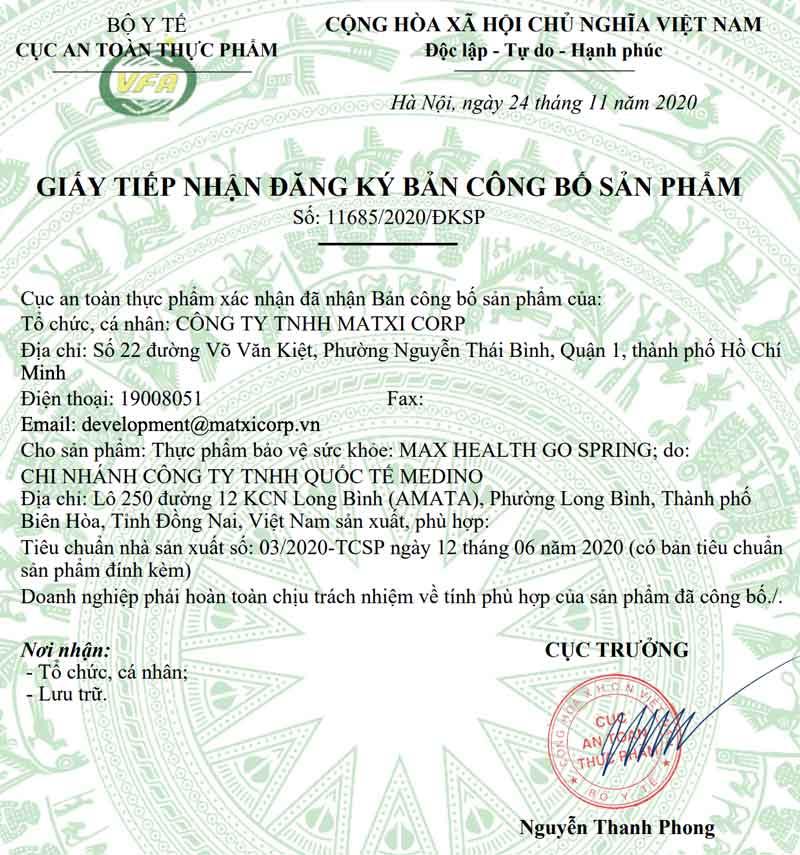 Giấy xác nhận công bố sản phẩm Go Spring do Cục ATTP - Bộ Y tế cấp