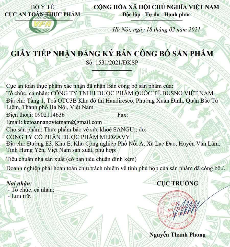 Giấy xác nhận công bố Tinh chất tiêu Gout Sangu do Cục ATTP - Bộ Y tế cấp phép