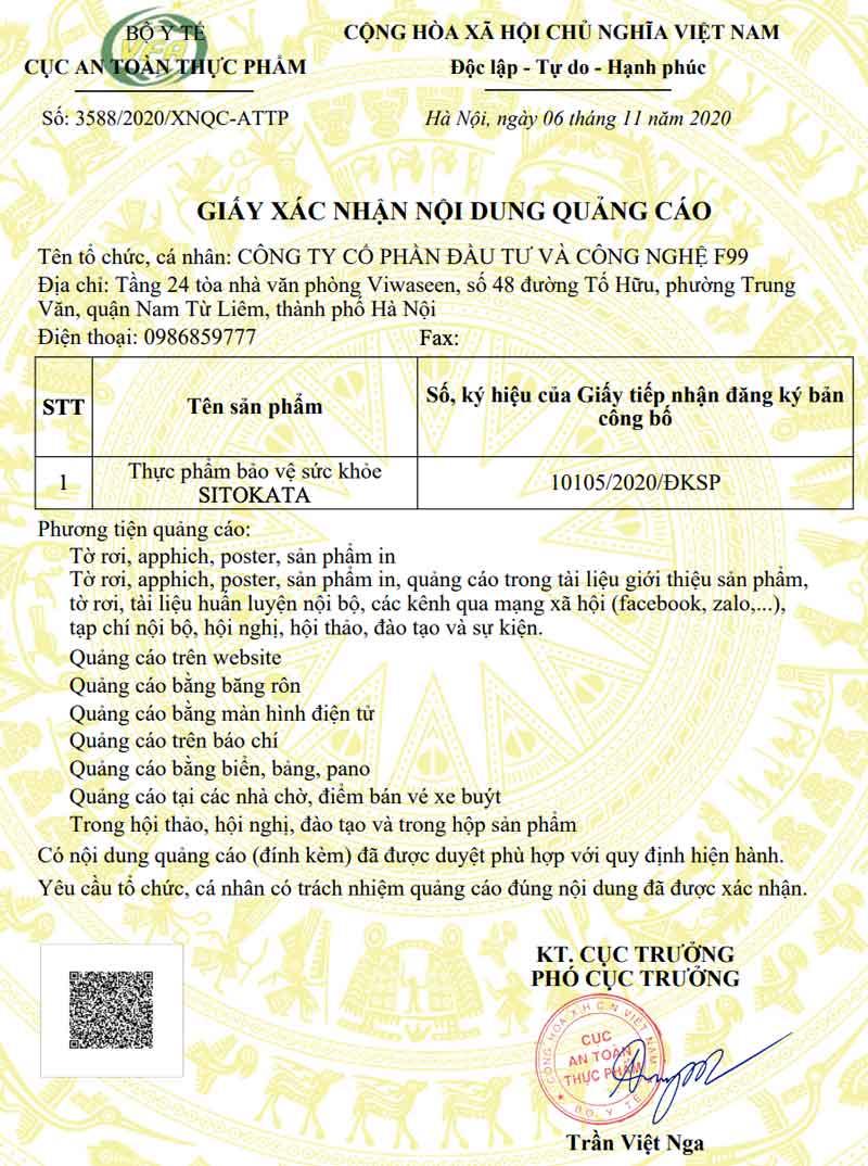 Giấy xác nhận quảng cáo Bột cần tây Sitokata do Cục ATTP - Bộ Y tế cấp phép