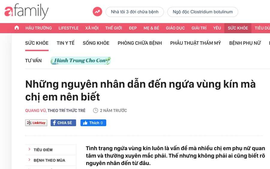 Trang tin Afamily viết về sản phẩm