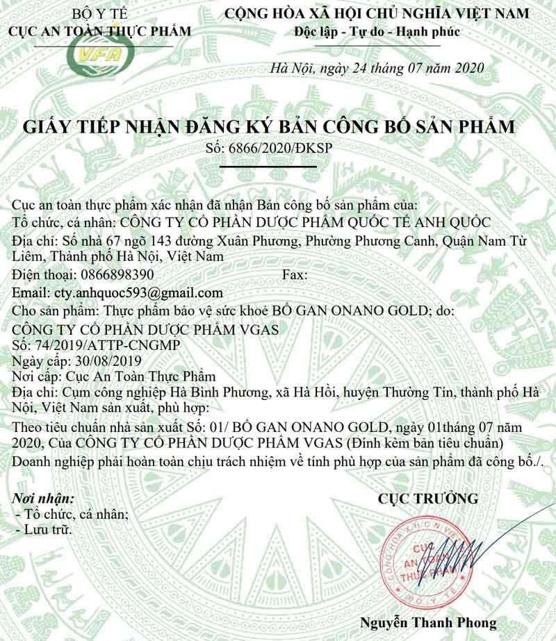 Giấy xác nhận công bố sản phẩm Bổ gan Onano Gold do Cục ATTP - Bộ Y tế cấp