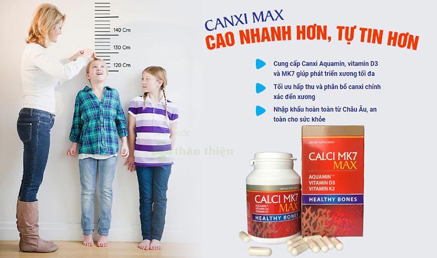 Calci MK7 Max, hỗ trợ hấp thụ canxi vào xương và hỗ trợ cải thiện tình trạng thiếu hụt canxi