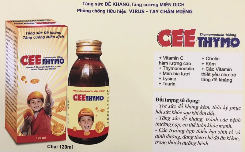 Cee Thymo, giúp bổ sung các Acid Amine (Lysin, Taurin) và các Vitamin