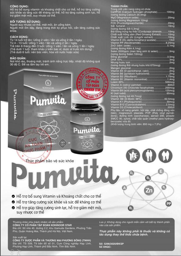 Giấy xác nhận nội dung quảng cáo Pumvita