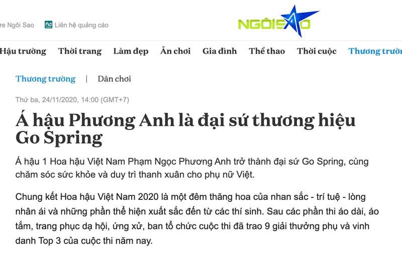 Trang tin Ngôi sao - Á hậu Phương Anh là đại sứ thương hiệu Go Spring, cùng xem chi tiết