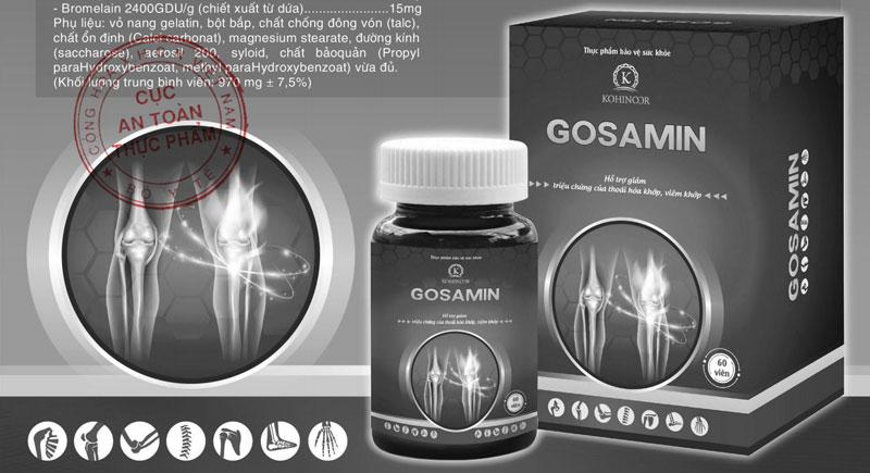 Tờ rơi sản phẩm Gosamin của Kohinoor do Cục ATTP - Bộ Y tế xác nhận